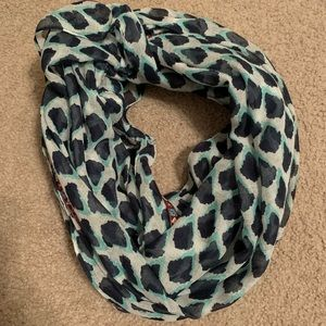 Navy and teal infinity scarf